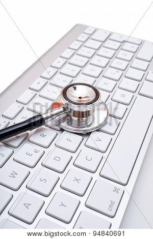 Stethoscope Head On Computer Keyboard