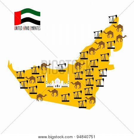 Map United Arab Emirates (UAE). Desert and oil rigs. Infographics minerals oil and animal world: cam