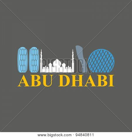 Abu Dhabi sign. Sight UAE. Skyscrapers and a mosque. Vector Flat design city skyline silhouette. Log