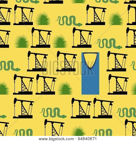 Saudi Arabia seamless pattern. Desert and oil pumps, snakes, and cacti. Kingdom tower is a business
