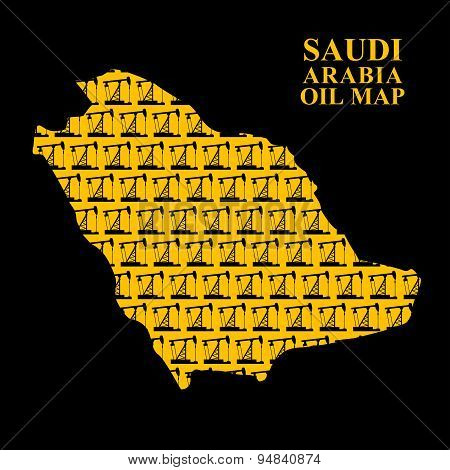Saudi Arabia oil map. Silhouette of desert map of oil rigs. Vector illustration.