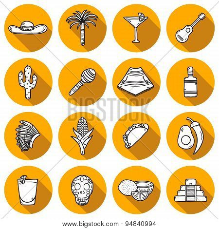 Set of cute hand drawn shadow outline icons on Mexica theme: sombrero, poncho, tequila, coctails, ta