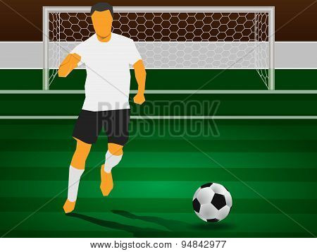 Soccer And Player In Field Play Match