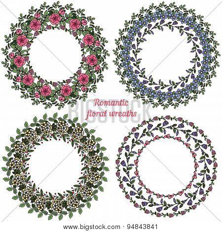 Hand Drawn Floral Frames. Circle Natural Wreaths