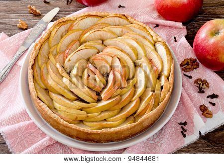 Apple tart, shortcrust pastry pie with walnuts