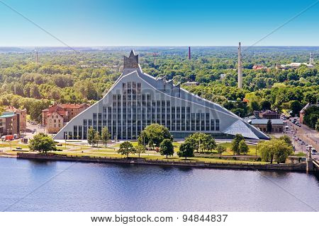 Aerial View Of Latvian National Library