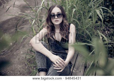 Pretty Teenage Girl Posing Outdoors Dressed Casual