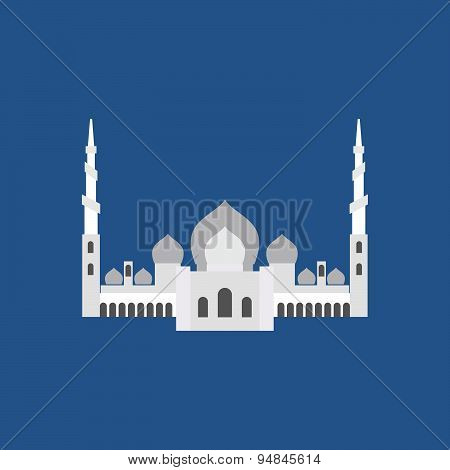 Sheikh Zayed Grand Mosque in Abu Dhabi. Vector flat sign silhouette logo