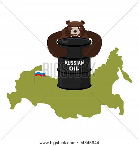 Barrel of oil on background map of Russia. Flag of Russian Federation. Bear hugs a barrel of oil. V