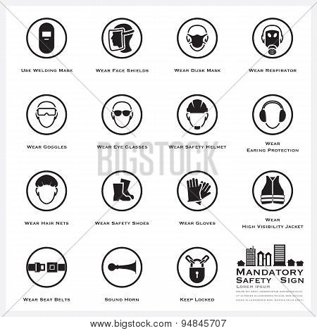 Mandatory Safety And Caution Sign Icons Set