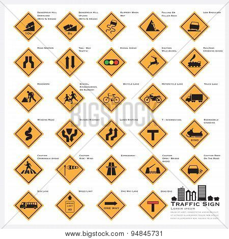 Road And Street Warning Traffic Sign Icons Set