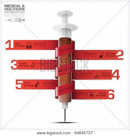 Health And Medical Infographic With Bind Spiral Tag Syringe Diagram