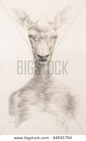 Surreal Hand Drawing Of A Deer Decorative Artwork