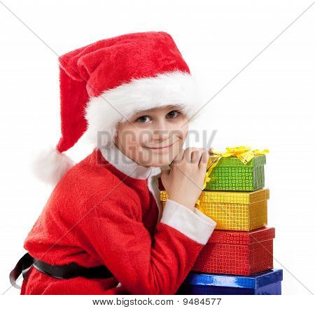Boy Holding A Christmas Gift