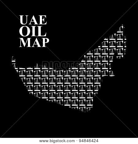 UAE oil map. Silhouette map of  United Arab Emirates of oil pumping rigs. Vector illustration