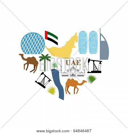 I love UAE. Symbol Heart attractions of  United Arab Emirates. Map UAE and DESERT, camel and an oil