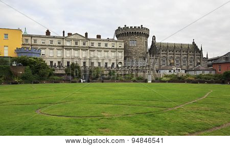 Dublin Castle, seen from park to the south, outside walls.