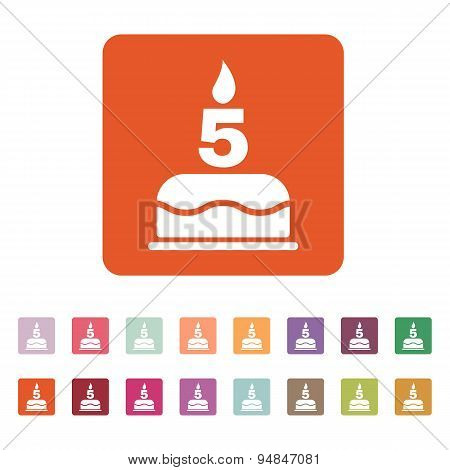 The Birthday Cake With Candles In The Form Of Number 5 Icon. Birthday Symbol. Flat