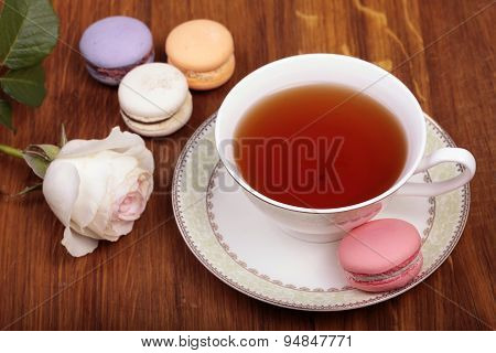 Traditional French Macrons With Tea Set