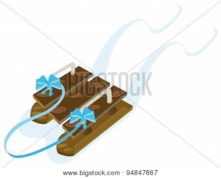 Wooden sleigh with a blue ribbon and bows