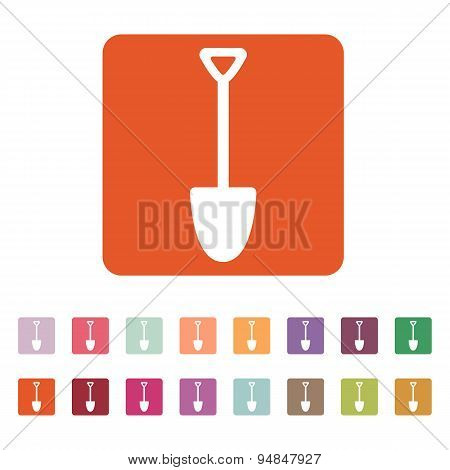 The Shovel Icon. Spade Symbol. Flat