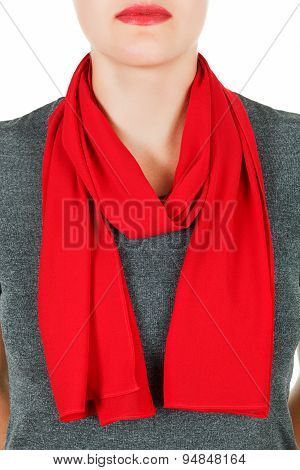 Silk Scarf. Red Silk Scarf Around Her Neck Isolated On White Background.