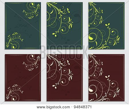 Collection of commercial leaflets and templates with natural patterns