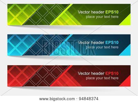 Web header, set of vector banner