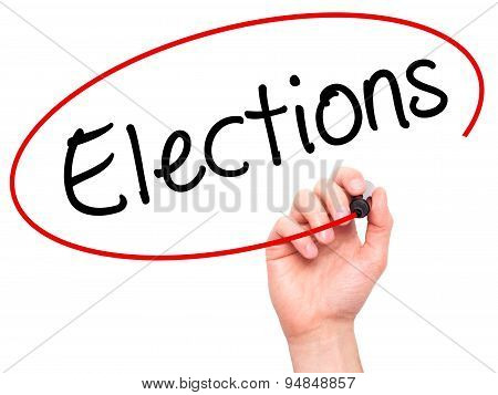 Man Hand writing Elections with black marker on visual screen.