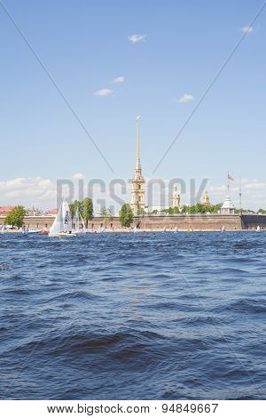 Sailing ship near the Peter and Paul Fortress