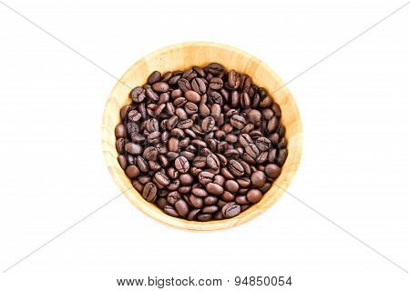 Coffee Beans In Wooden Bowl Isolated On White