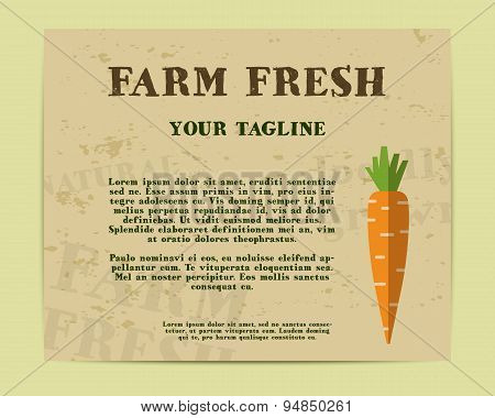 Stylish Farm Fresh poster, template or brochure design with carrot. Mock up design with shadow. Best