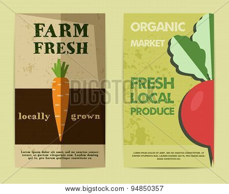 Set of Stylish Farm Fresh flyer, template or brochure design with carrot and radish. Mock up design.
