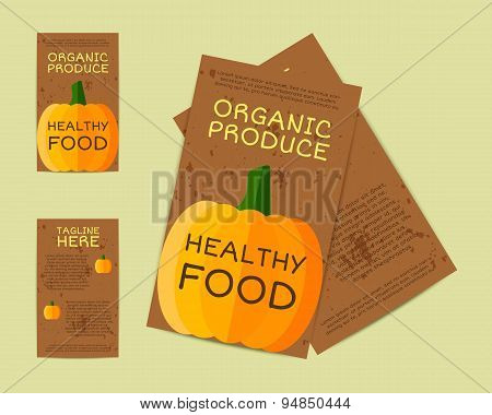 Farm Fresh flyer, template or brochure design with pumpkin. Mock up design with shadow. Vintage colo