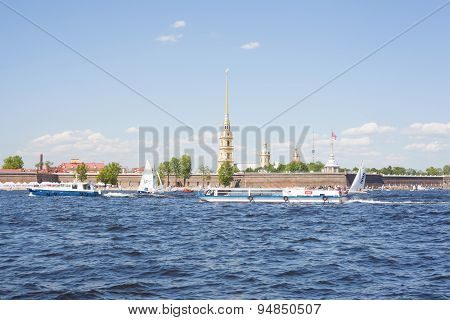 Sailing ships near the Peter and Paul Fortress