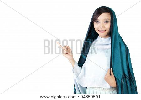 Elegant Woman In Veil Pointing At Copyspace