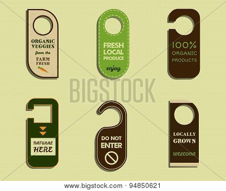 Stylish Farm Fresh brand door badge, sticker templates. Organic, eco. Mock up design. Retro colors.