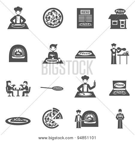 Pizzeria And Pizza Delivery Icons Set