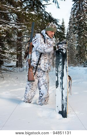 Hunter With Skis