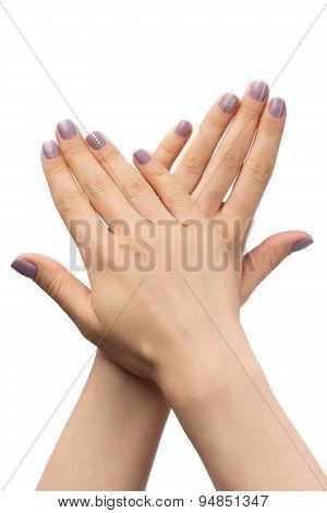Women's Hands, Purple Manicure With Rhinestones.