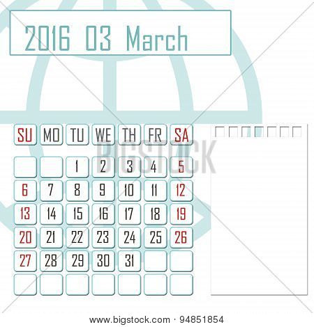 Abstract Design 2016 Calendar With Note Space For March