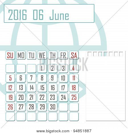 Abstract Design 2016 Calendar With Note Space For June