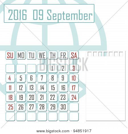 Abstract Design 2016 Calendar With Note Space For September