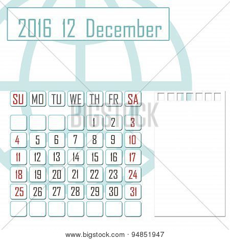 Abstract Design 2016 Calendar With Note Space For December