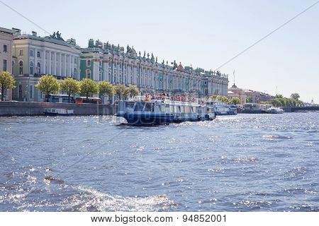 Excursion boat on Neva river