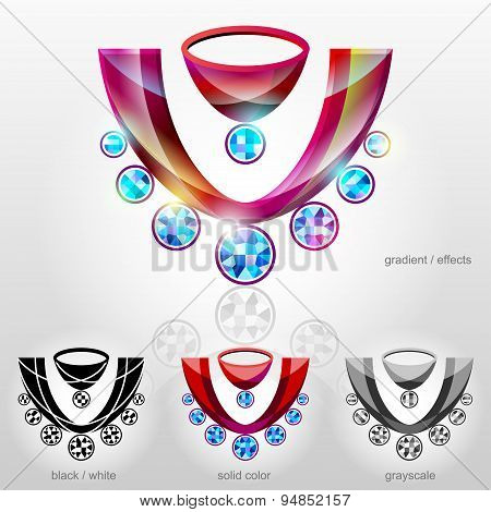 Symbol In Shape Of Bust With Diamond Necklace