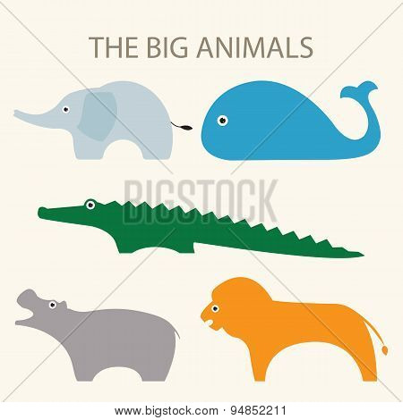 A set of vector illustrations of big animals including elephant, whale, crocodile, hippopotamus and