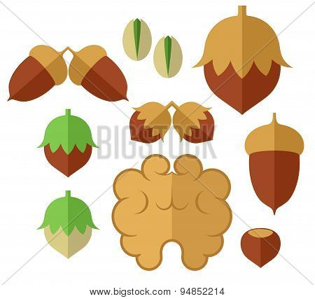 Nuts. Icon set