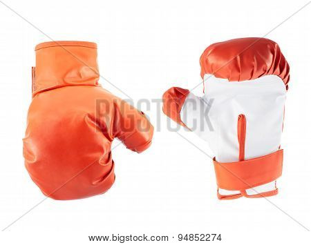 Red boxing gloves isolated