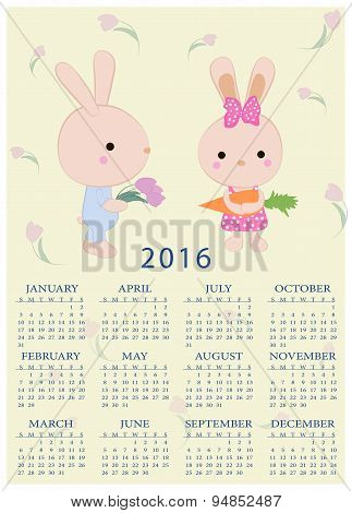 Calendar For 2016 With Cartoon And Funny Bunnies Kids. Vector Illustration In Childish Style.